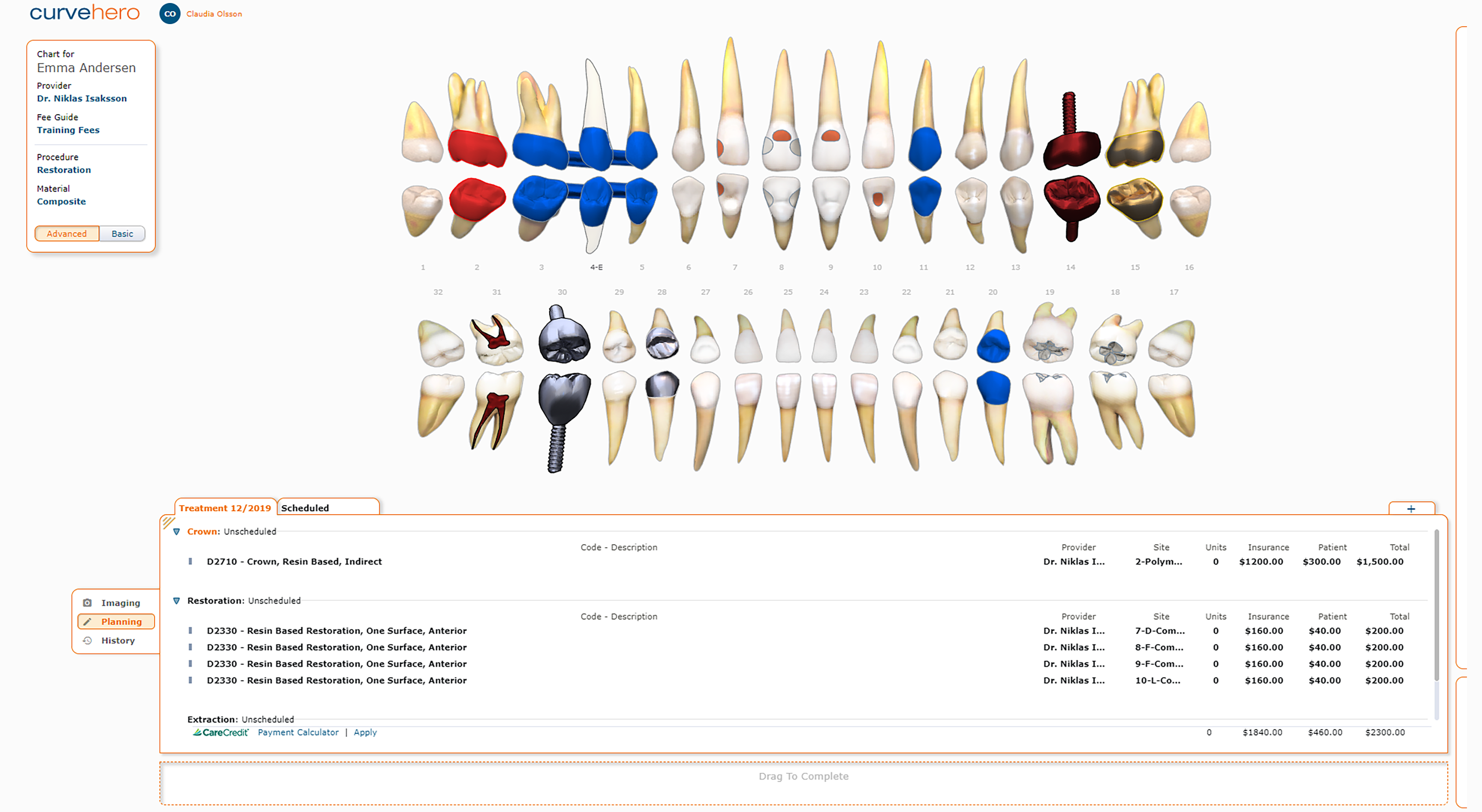 The Charting module enables you to input, edit, and view dental procedures.