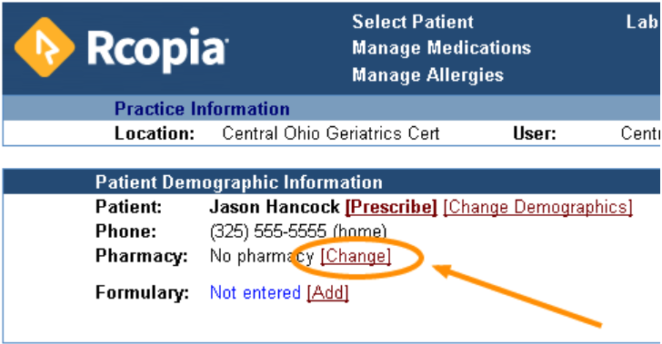 Select a default pharmacy for your patient.